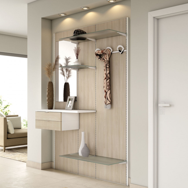 Pannello da ingresso con mensole, ripiani, cassetto, appendiabiti N01