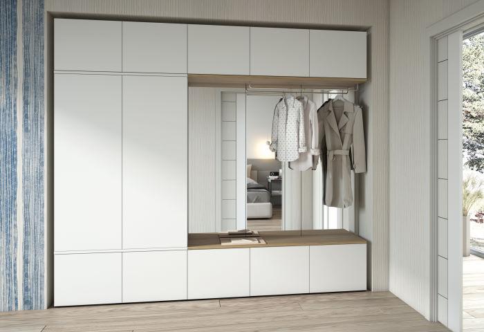 Parete guardaroba per ingresso con panca e specchio integrati Home H16