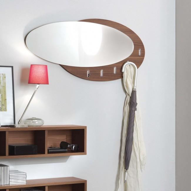Specchio ovale con cornice dotata di gancetti Evolution