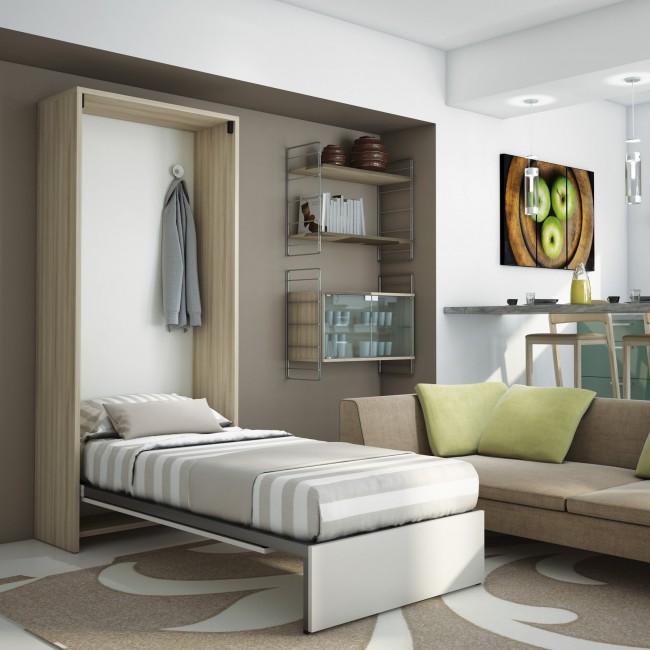 Mobile a parete con letto singolo a ribalta a scomparsa