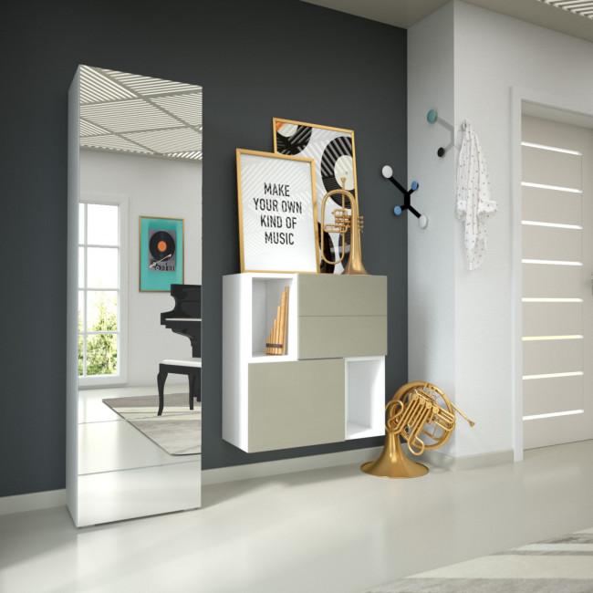 Scarpiera a un'anta a specchio e mobile contenitore per ingresso H08