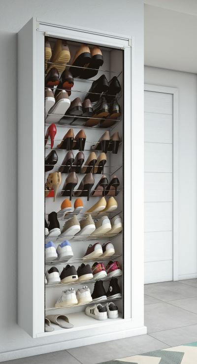 Scarpiera a serrandina aperta capienza massima 36 paia di scarpe