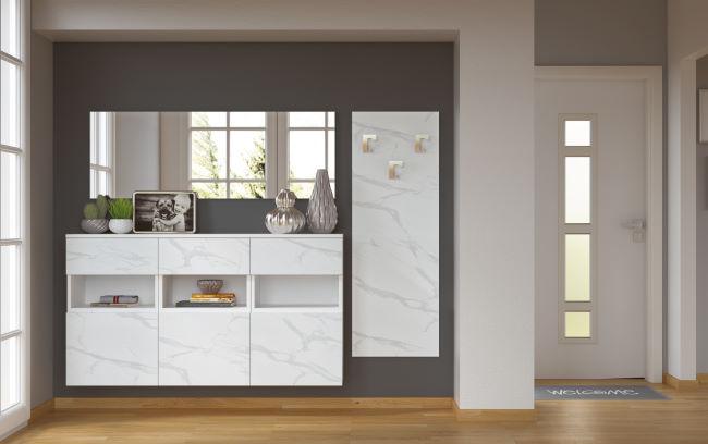 Scarpiere a parete bianco effetto marmo, specchio e appendiabiti per ingresso