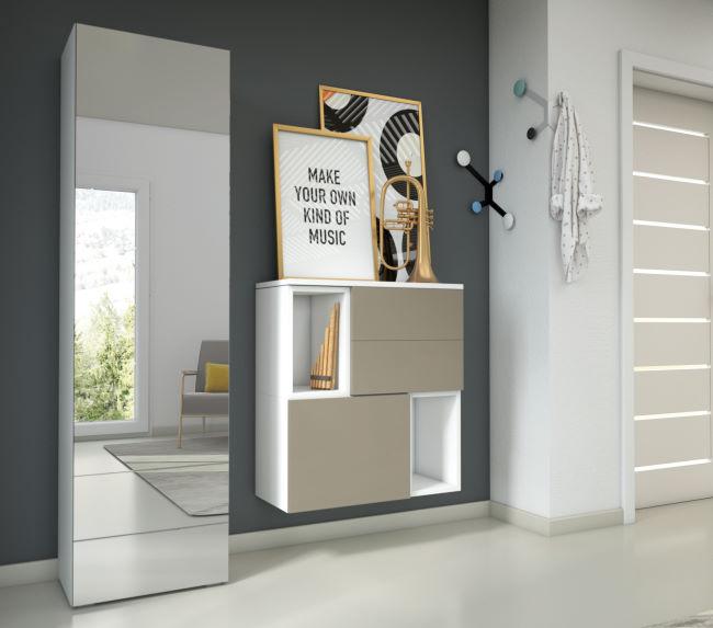 Combinazione per ingresso con scarpiera a specchio alta e contenitori a parete